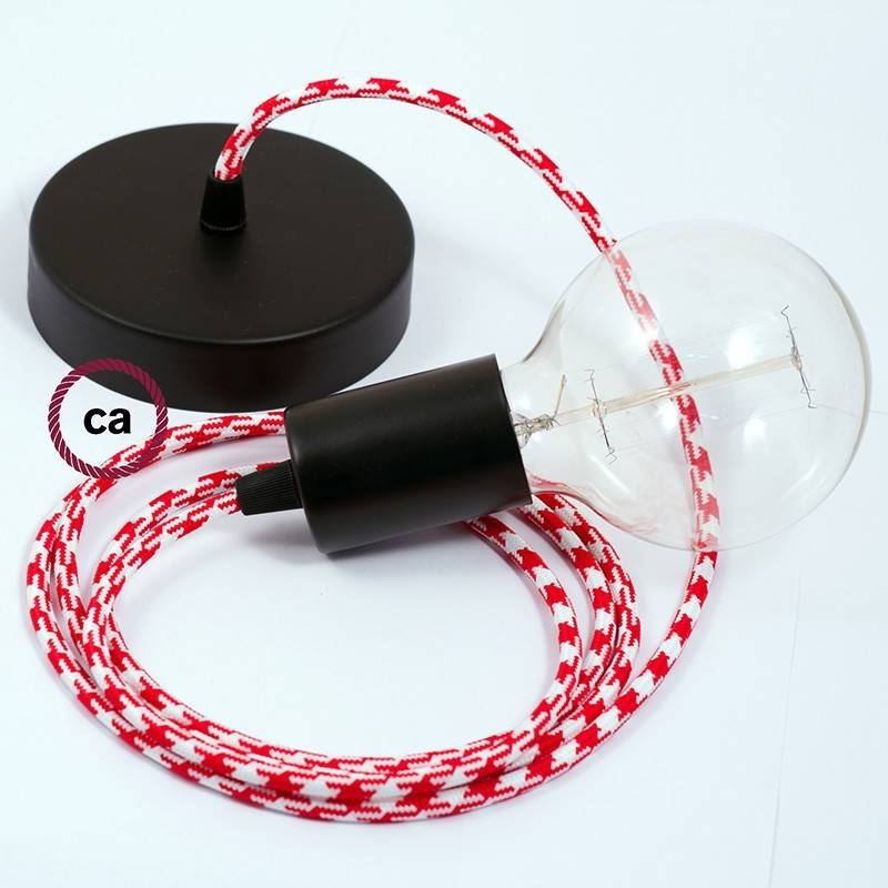 Single Pendant, suspended lamp with Bicolored Red textile cable RP09