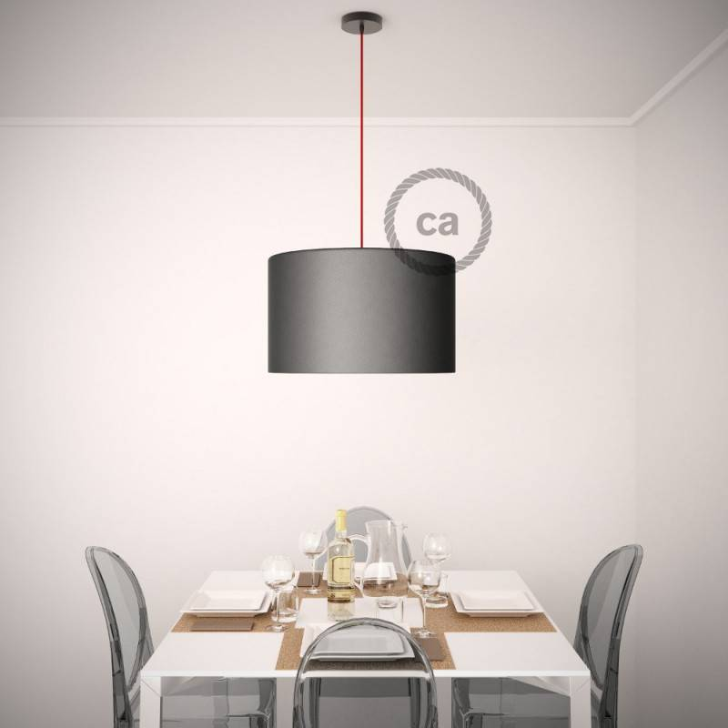 Pendant for lampshade, suspended lamp with Stripes Anthracite textile cable RD54