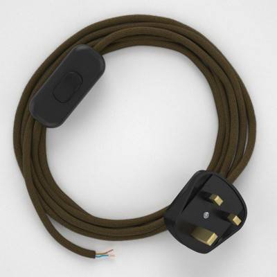 Lamp wiring, RC13 Brown Cotton 1,80 m.