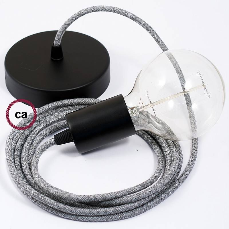 Single Pendant, suspended lamp with Grey Natural Linen textile cable RN02