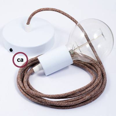 Single Pendant, suspended lamp with Brown Glittering Natural Linen textile cable RS82