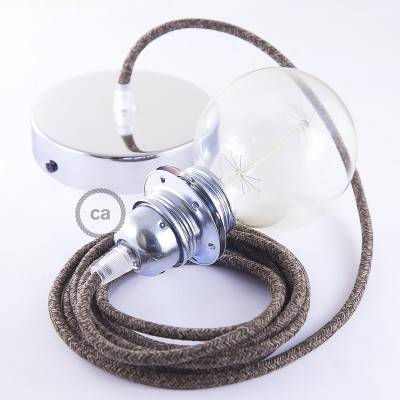 Pendant for lampshade, suspended lamp with Brown Natural Linen textile cable RN04