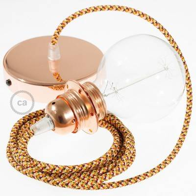 Pendant for lampshade, suspended lamp with Pixel Orange textile cable RX01