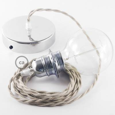 Pendant for lampshade, suspended lamp with Dove Cotton textile cable TC43