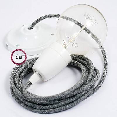 Porcelain Pendant, suspended lamp with Grey Natural Linen textile cable RN02