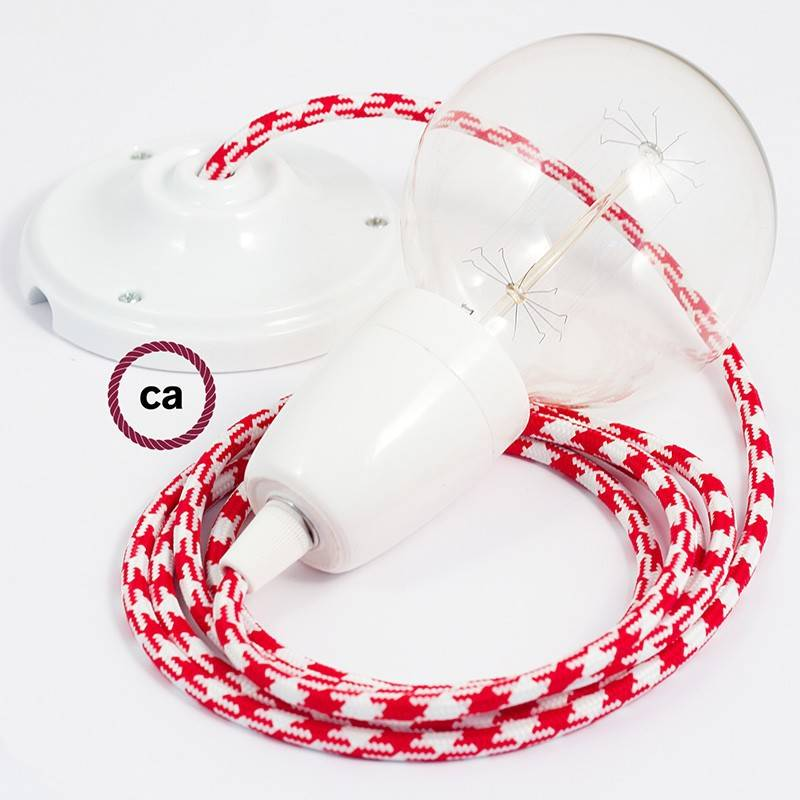 Porcelain Pendant, suspended lamp with Bicolored Red textile cable RP09