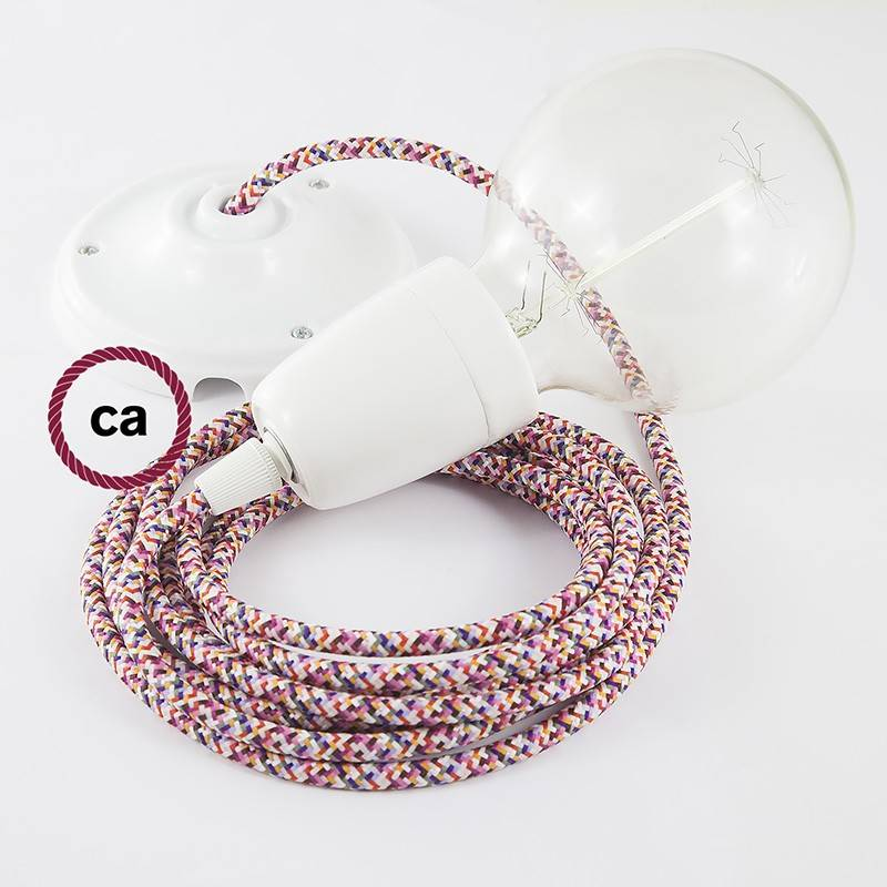 Porcelain Pendant, suspended lamp with Pixel Fuchsia textile cable RX00