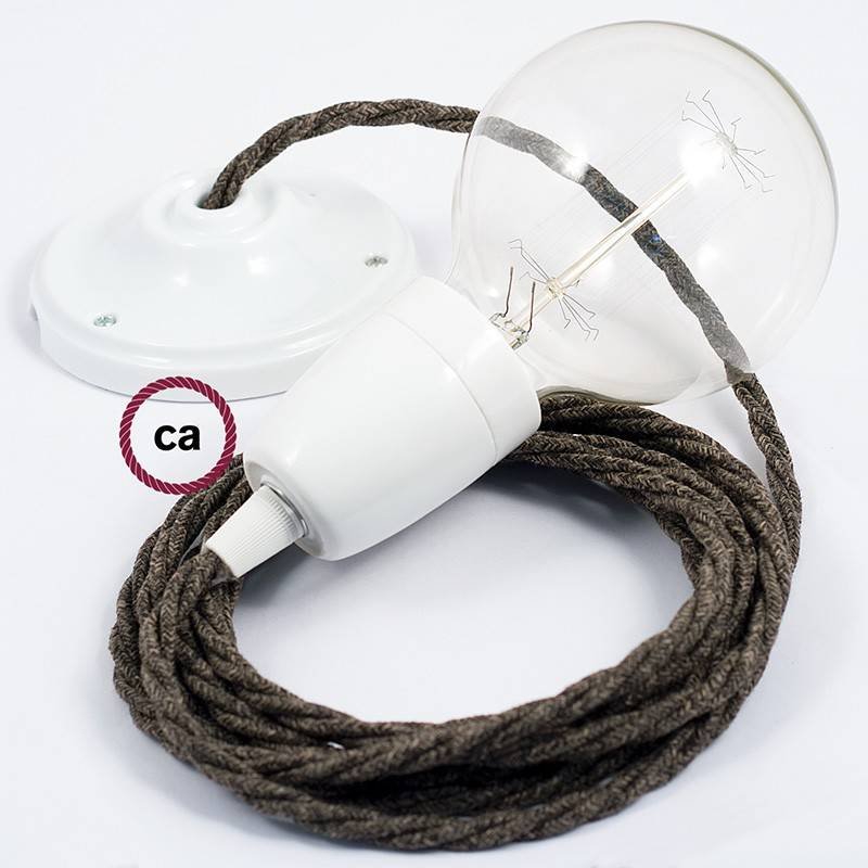 Porcelain Pendant, suspended lamp with Brown Natural Linen textile cable TN04