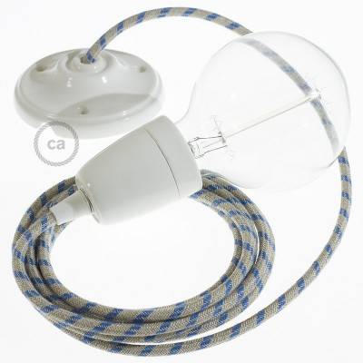 Porcelain Pendant, suspended lamp with Stripes Steward Blue textile cable RD55