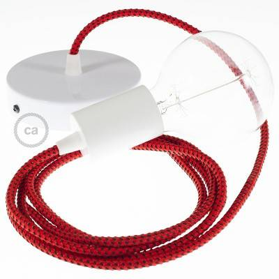 Single Pendant, suspended lamp with Red Devil 3D textile cable RT94