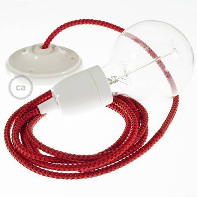 Porcelain Pendant, suspended lamp with Red Devil 3D textile cable RT94