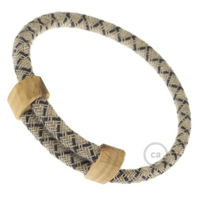 Creative-Bracelet in Anthracite Lozanga Cotton and Natural Linen RD64. Wood sliding fastening. Made in Italy.