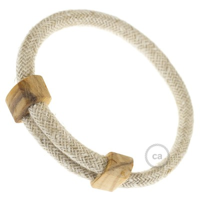 Creative-Bracelet in Natural Neutral Linen RN01. Wood sliding fastening. Made in Italy.