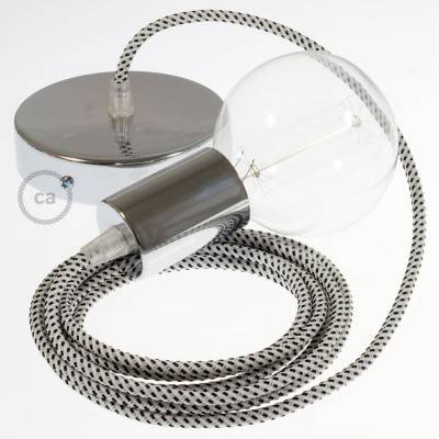 Single Pendant, suspended lamp with Stracciatella 3D textile cable RT14
