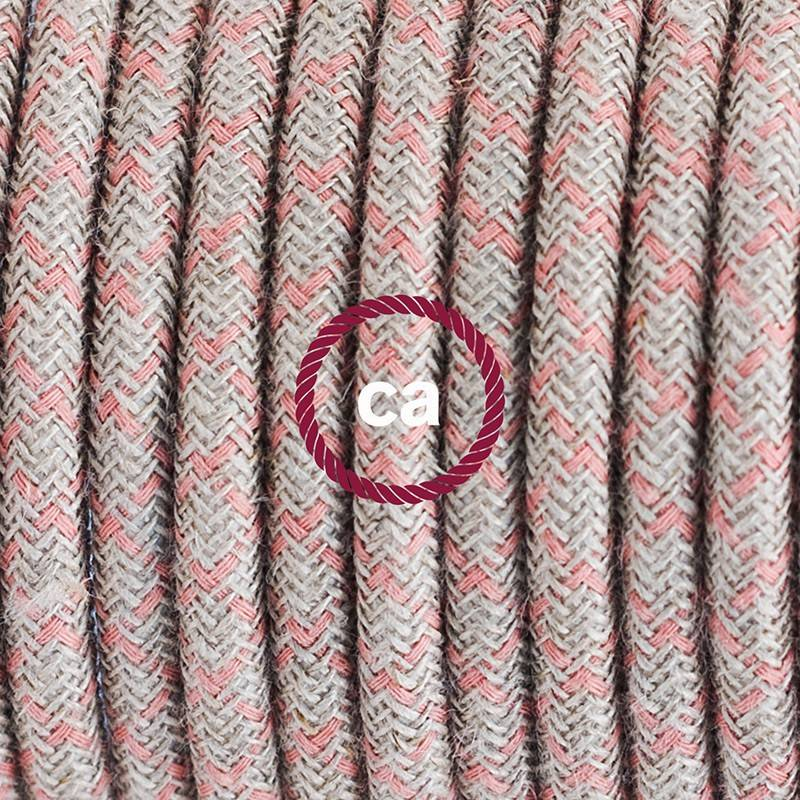 Lamp wiring, RD61 Ancient Pink Diamond Cotton and Natural Linen 1,80 m.