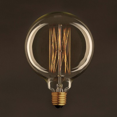 Golden Vintage Globe Light Bulb G125 Carbon Filament Cage 25W E27 Dimmable 2000K