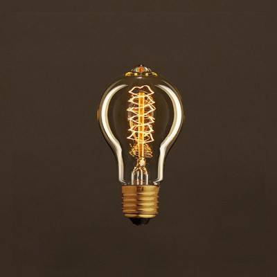 Vintage Golden Light Bulb Drop A60 Carbon Filament Double Spiral Curve 25W E27 Dimmable 2000K