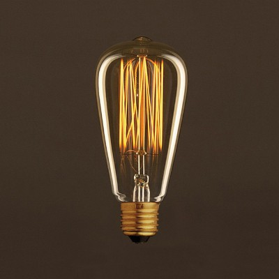 Vintage Golden Light Bulb Edison ST64 Carbon Filament Cage 25W E27 Dimmable 2000K