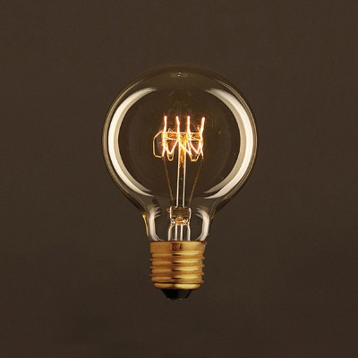 Vintage Golden Light Bulb Globe G80 Carbon Filament Spiral Curve 25W E27 Dimmable 2000K