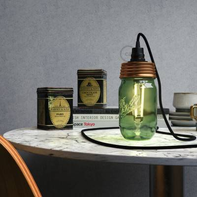 Bronze metal Mason Jar Pendant lighting Kit with conical strain relief and E14 Black bakelite lamp holder