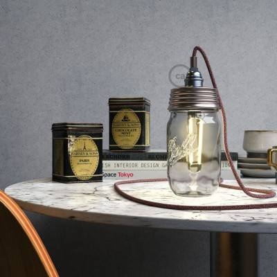 Zinc-coated Mason Jar Pendant lighting Kit with cylindrical strain relief and E14 Chrome metal lamp holder