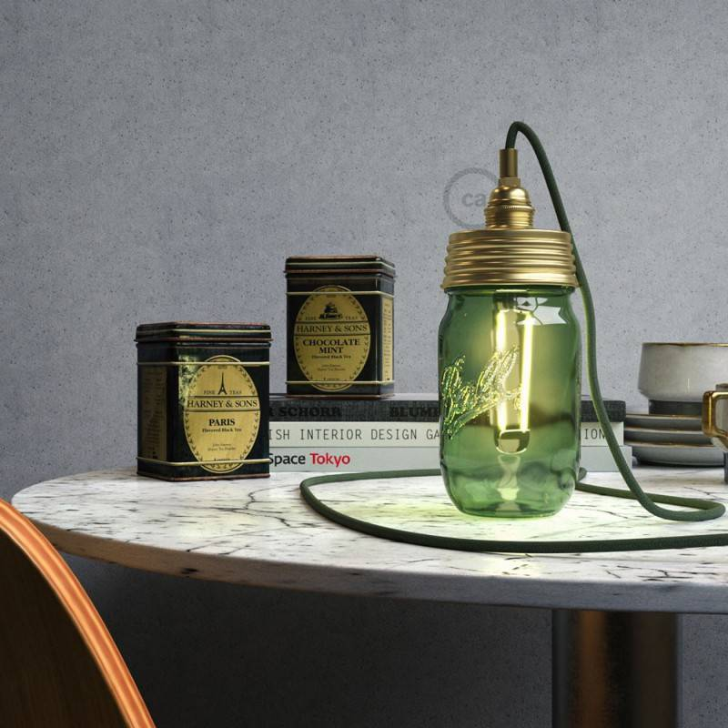 Golden metal Mason Jar Pendant lighting Kit with cylindrical strain relief and E14 Brass metal lamp holder