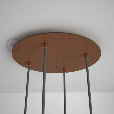 Round 35 cm Satin Copper XXL Ceiling Rose with 4 holes + Accessories