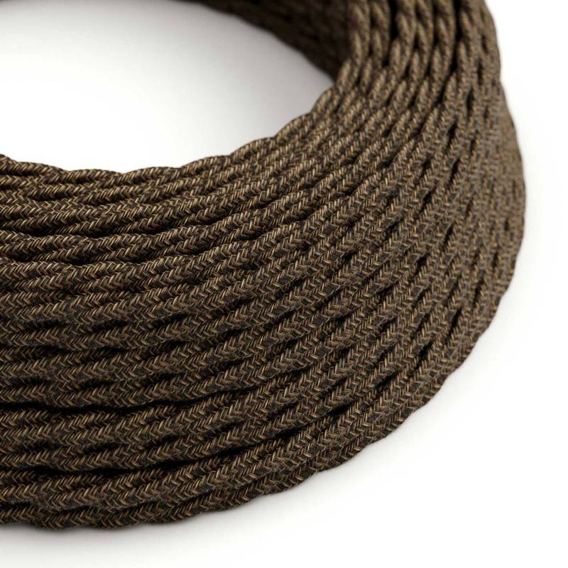 Twisted Electric Cable covered by Natural Linen TN04 Brown