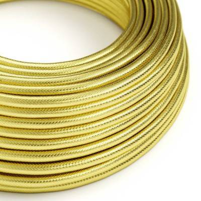 Round Electric cable covered in 100% Brass coloured Copper